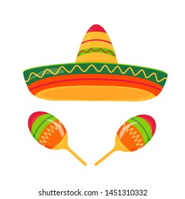 Sombrero and maracas vector isolated on white background