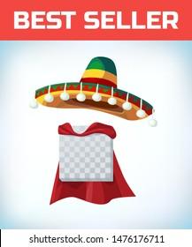 Sombrero Mexican hat. Masquerade costume headdress. Carnival or Halloween mask. Cartoon Vector illustration. Red cape