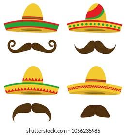 Sombrero, Mexican Sobrero set with a mustache. Mexican headdress. Flat design, vector illustration, vector.