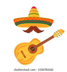 Sombrero and mustache. Acoustic guitar. String instruments. Musical Festival