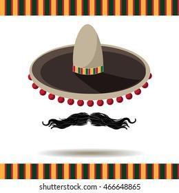 Sombrero and mustache. EPS 10 vector.