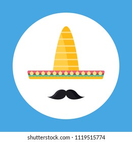Sombrero and Mustache flat icon isolated on blue background. Simple sombrero symbol in flat style. Mexico symbol Vector illustration for web and mobile design.