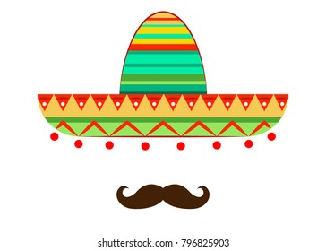 Sombrero and mustache icon template, vector isolated