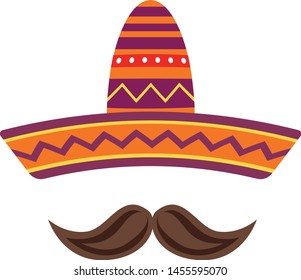 Sombrero and mustache isolated on white background. Mexican flat icon. Vector stock.