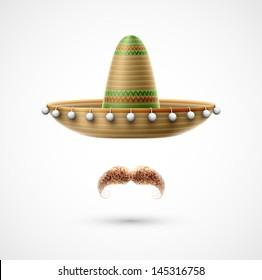 Sombrero and mustache (Mexican accessories). Eps 10