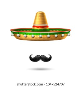 2a77299df5f9f Sombrero realistic mexican hat mustache. 3d cinco de mayo festival holiday  celebration object. Spanish