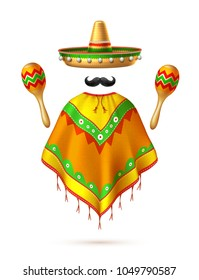 Sombrero realistic mexican hat mustache poncho and maracas man silhouette. 3d cinco de mayo festival traditional mexican holiday celebration design. Decorated vintage party symbol. Vector illustration