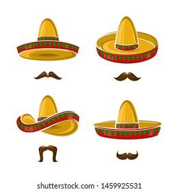 Sombrero set. Collection icon sombrero. Vector