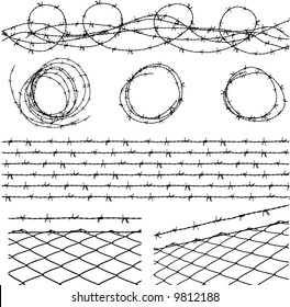 some barbed wire elements with fence and a barbed wire seamless module in a separate layer