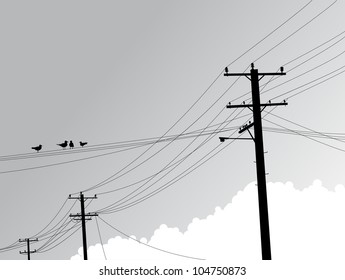 Some Birds sitting on telephone lines.