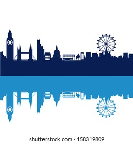 some blue silhouettes of the buildings from london