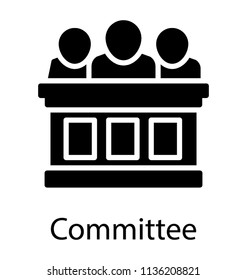 Some board members sitting on bench denoting icon for committee