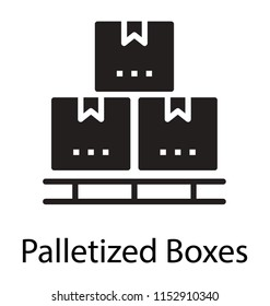 Some boxes and crates placed in a symmetry to hold packages icon
