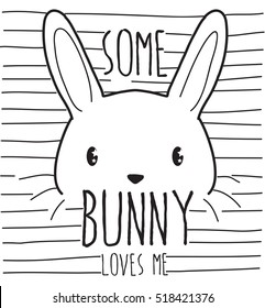 some bunny loves me, cute graphics for t-shirts