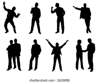 some business people silhouette on white background