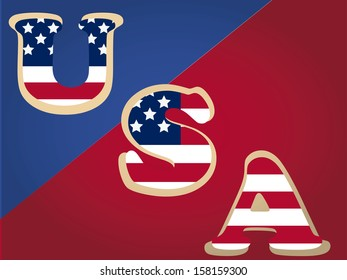 some colored text with the american flag color in a red blue background
