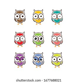 some cute and funny owl logos with different colors