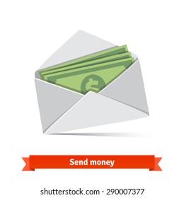 Some dollar bills in white envelope. Send money concept. Flat vector icon.