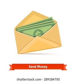 Some dollar bills in yellow paper envelope. Send money concept. Flat vector icon.