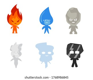 Some fire water rock smoke wind and metal element character bundle