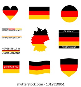 Some german flags and a map