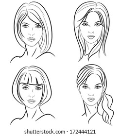 some hairstyles for women. Front view. Black and white outline mode. Vector illustration.
