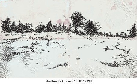 Some Landcape, Countryside with forest. An hand drawn vector illustration. Engraved effect.