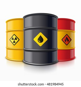 Some metal barrels for oil, petrol and chemical waste