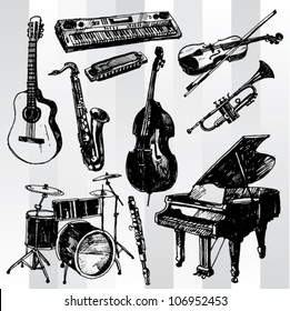 Some Music Instruments Hand Drawn