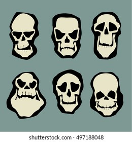Some skull characters and emotions set. Vector graphics.