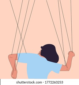 Someone manipulates and abuses a woman. Toxic relationships. Flat vector illustration. Manipulations. Marionette