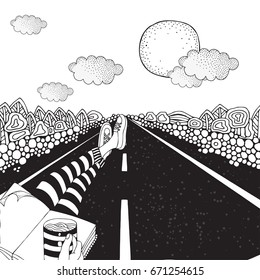 Someone is sitting on the highway and drinking coffee. Long car highway stretching into the distance.  Landscape. Coloring Book page for adult. Black and White vector.