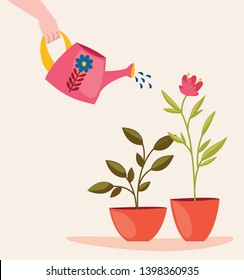 Someone is watering home plants in pots. Cute vector cartoon illustration.