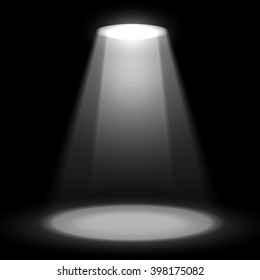 Something in a beam of stage spotlight with shadow on dark background. Vector scene illuminated with spotlight. Show stage spotlight black background vector. Spotlight glow effect scene background.