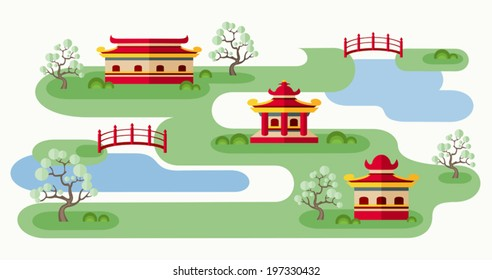 Somewhere in Japan. Cartoon illustration with tranquil Japanese landscape. Abstract map of countryside with pagodas, trees and bridges. Rolling landscape. Colorful flat style. Vector EPS8.