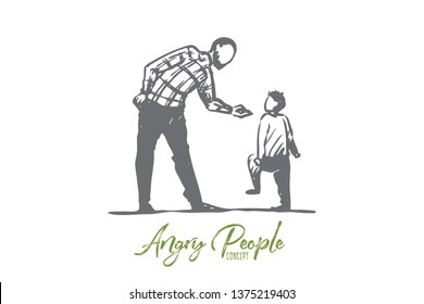 Son, father, angry, scold, conflict concept. Hand drawn father scolds his son concept sketch. Isolated vector illustration.