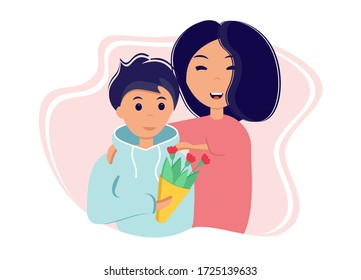 Son gives his mother flowers. Vector illustration in flat style for mother's day.