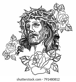 Son of God Jesus Christ. Tatto rose, with a crown of thorns on his head. Vector illustration