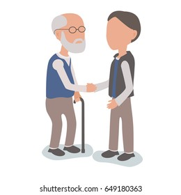 Son helping elderly father - family assist concept - vector characters body parts grouped and easy to edit - limited palette
