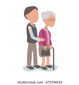 Son helping elderly mother - family assist concept - vector characters body parts grouped and easy to edit - limited palette