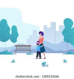 son hug mom in city park. boy hug his beloved mom. hug mom - vector illustration in gradient style.