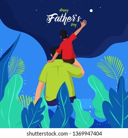 Son sitting on his father shoulders and looking night sky on nature background for Happy Father's Day celebration poster design.