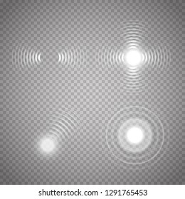 Sonar waves isolated on transparent background. Vector radar signs