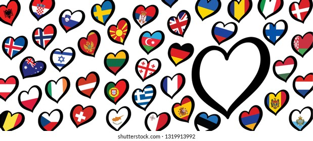 Song festival Euro songfestival Eurovision contest 2020 the Netherlands Holland Dutch flag flags Fun Funny Music Musical love heart Logo sign signs Grand Final symbol countries country vector winner