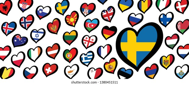Song festival Euro songfestival Eurovision contest 2019 Israel Israël Swedish Sweden SE SWE flag Vector Fun Funny Music Musical notes love heart Logo sign signs Grand Final party symbol Dare to dream