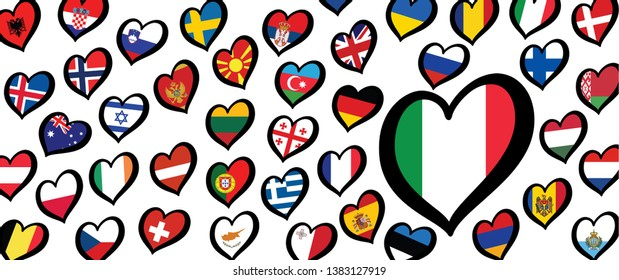 Song festival Euro songfestival Eurovision contest 2020 Rotterdam Come closer Italy italia italian flag Vector Fun Funny Music Musical notes love heart Logo sign signs Grand Final party symbol