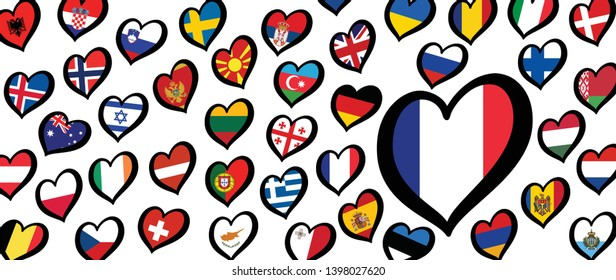 Song festival Euro songfestival Eurovision contest 2019 Israel Israël France French republic flag Vector Fun Funny Music Musical notes love heart Logo sign signs Grand Final party symbol Dare to dream