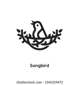Songbird icon vector. Bird symbol. Linear style sign for mobile concept and web design. Songbird building symbol illustration. Pixel vector graphics - Vector.