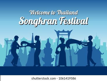 Songkran famous festival of Thailand Loas Myanmar and Cambodia,new year,silhouette design