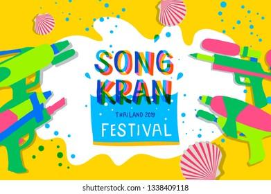Songkran Festival 2019. Thai Water Festival Elements, vector illustration